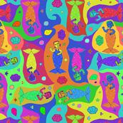 Mermaids - Multicolor / Rainbow - Seamless Allover