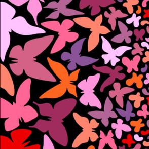 Gradient butterflies (pink/orange on black)