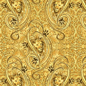 Golden Lions Damask