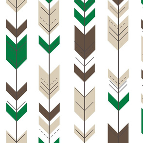 Fletching arrows // green/tan/dark brown
