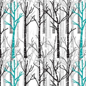 teal birch trees