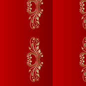 Royal deep red with gold design