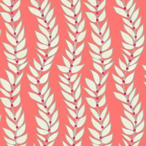 Leaf Stripe Dot Coral