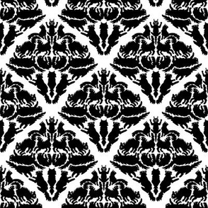 Cat Damask Black and White