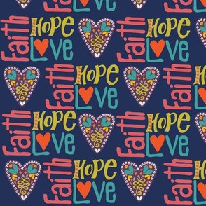 Faith Hope and love word art