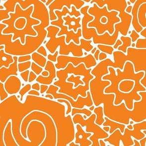 orange on white wattle flower