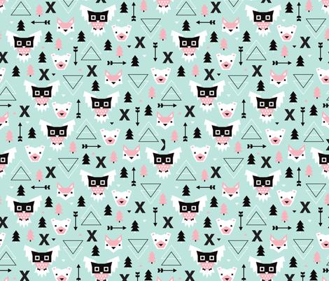 Geometric winter wonderland pastel blue owls christmas for Kids pattern fabric