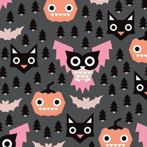 Geometric pumpkin cats and halloween illustration pattern