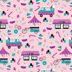 Cute girls candy shop and birthday party kids theme illustration for girls