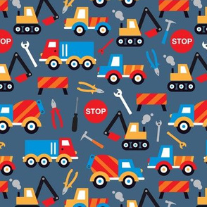 Kids illustration construction truck and tools boy pattern