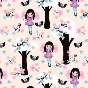Cute fairy princess girls illustration pink owl tree pattern
