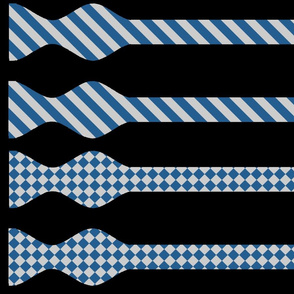 School Colors Bow Ties Silver and Blue