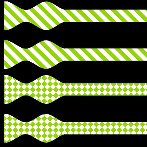 School Colors Bow Ties Apple Green and White