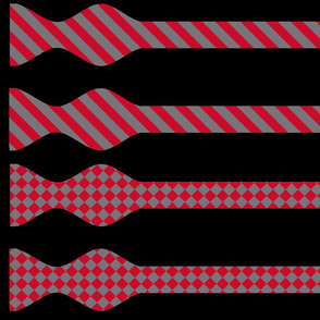 School Colors Bow Ties Red and Grey