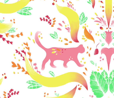 Colorful Cat Damask