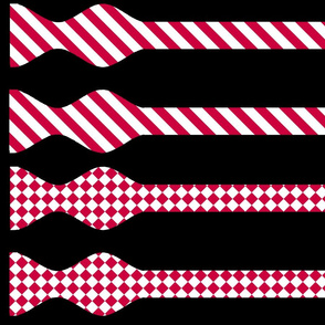 School Colors Bow Ties Red and White