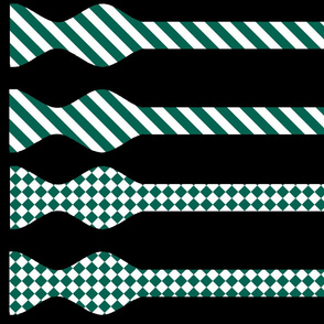 School Colors Bow Ties Green and White