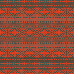 Tribal Woven Chevrons Orange Grey