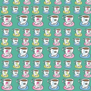 Coffee Cups and Saucers on the Green