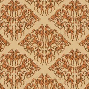 Wooden Arabian horse damask