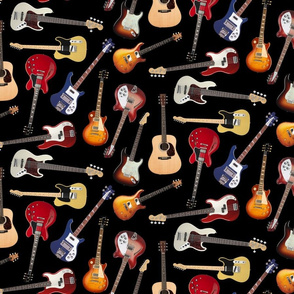 Guitars on black background