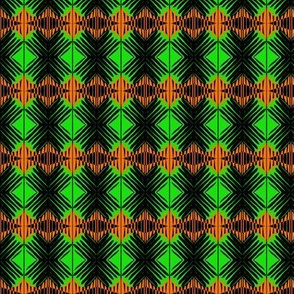 Woven Diamonds Green Orange