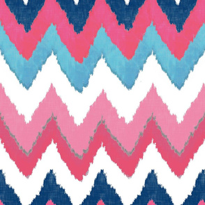 Watercolor Ikat Chevron in Navy, Fuchsia and Aqua