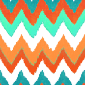 Watercolor Ikat Chevron in Tangerine and Turquoise