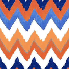 Watercolor Ikat Chevron in Blue and Tangerine Fusion