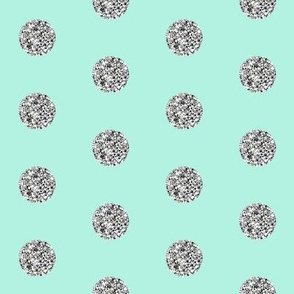 Silver Glitter Dot in Mint