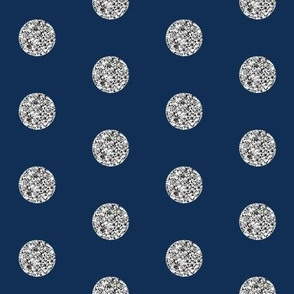 Silver Glitter Dots Beaucoup! on Classic Navy