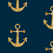 Anchors Aweigh in Gold Glitter on Navy