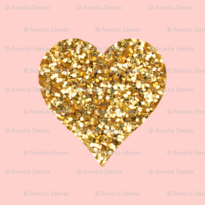 Gold Glitter Hearts On Pink Sparrowsong Spoonflower
