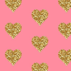 Gold Glitter Hearts on Pink
