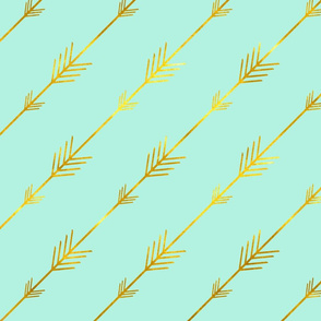 Gold Arrows on Bright Mint
