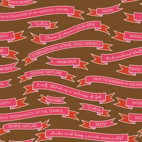 Young Women's Theme and Values Banner Fabric [Red/Pink]