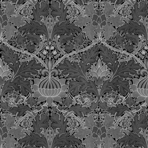 William Morris ~ Growing Damask ~ Black