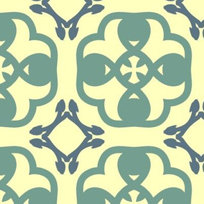 Abstract Geometric in Green and Cream