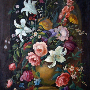 Black floral antique oil