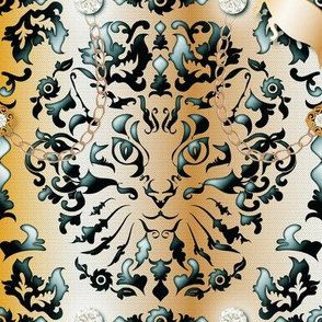 Bling Bling Cat Damask (Copper)