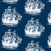 Navy Blue White Vintage Sailing Ship
