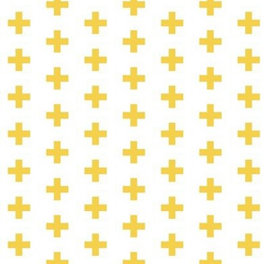 Small Mustard Crosses on White - Mustard Plus Sign - small version