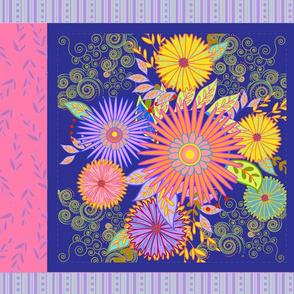 Royal Blue Floral Pillow Panel