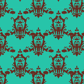 Cat Damask Turquoise and Brown