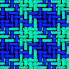 Watercolor woven houndstooth in blue and teal
