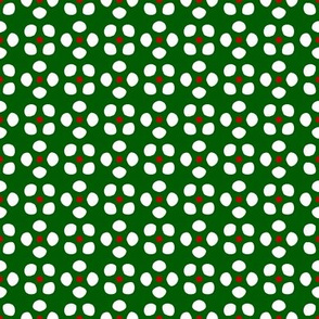 Randa 5   -White and Bright Red  on Green