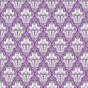 Cat Damask in Purrrfect Purrrple