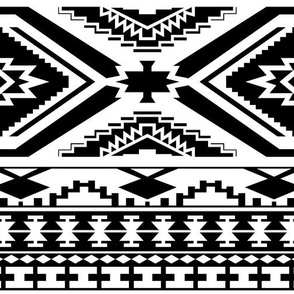 Aztec Geometric Pattern - Black and White, perfect repeats