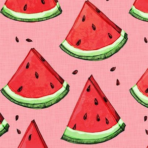Watermelon on pink (texture)