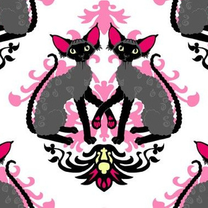 Devon Rex Cat Damask Hot Pink